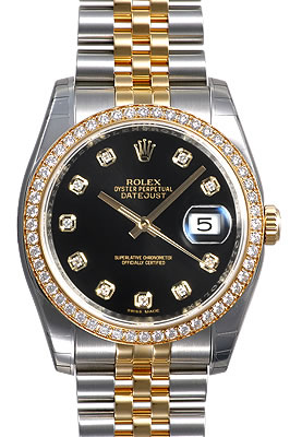 Pre Owned Rolex Watches Men S Rolex Datejust Jubilee Bracelet Black Dial Diamond Hour Markers