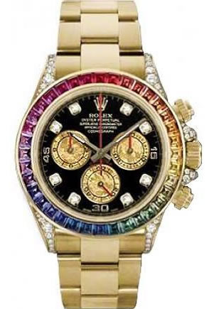 Pre Owned Rolex Watches Men S Rolex Oyster Perpetual Daytona 18k Yellow Gold Black Dial Diamond