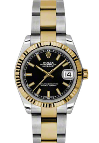27f05c1e1 Women's Rolex Datejust Steel and Gold Black Dial Oyster Bracelet Watch  178273