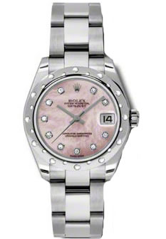 Women's Rolex Datejust Pink Mother of Pearl Dial 18K White Gold Diamond Watch 178344