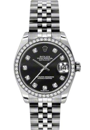 35e8aff74 Women's Rolex Datejust Jubilee Bracelet 18K White Gold Black Dial Diamond  Watch 178384