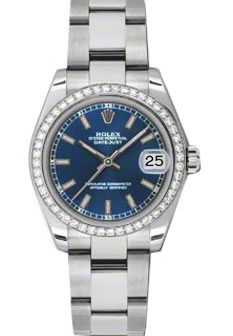 Women's Rolex Datejust 18K White Gold Blue Dial Diamond Oyster Bracelet Watch 178384