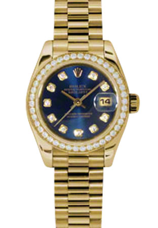 Women's Rolex Datejust President 18K Yellow Gold Blue Dial Diamond Watch 179138