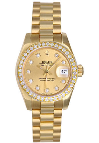 Women's Rolex Datejust President 18K Yellow Gold Champagne Dial Diamond Watch 179138