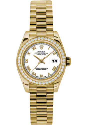 Women's Rolex Datejust President 18K Yellow Gold Diamond White Dial Watch 179138