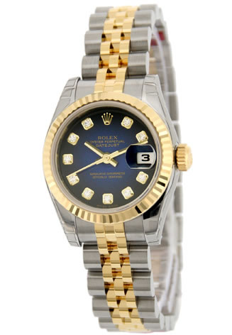 Women's Rolex Datejust Jubilee Bracelet Blue Diald Diamond Markers Watch 179173