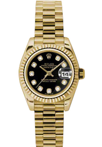 Women's Rolex Datejust 18K Yellow Gold Black Dial Diamond Watch 179178