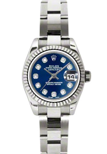 Women's Rolex Datejust 18K White Gold Blue Dial Diamond Watch 179179