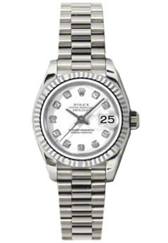 Women's Rolex Datejust President 18K White Gold White Dial Diamond Watch 179179