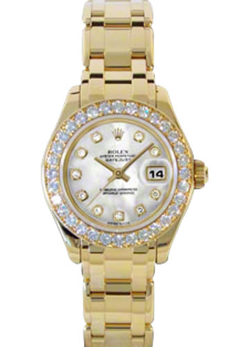 Women's Rolex Datejust 18K Yellow Gold Pearlmaster Mother of Pearl Dial Watch 80298