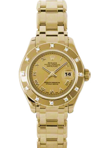 Women's Rolex Datejust Pearlmaster 18K Yellwo Gold Champagne Dial Diamond Watch 80318